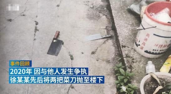 女子从三楼扔下菜刀,被判刑六个月并处罚金,成全国首案