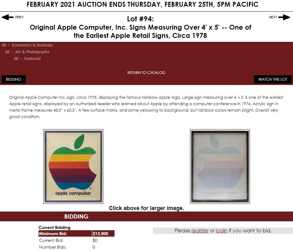 40年前的苹果电脑标志牌将于本周拍卖 7.8万元起拍