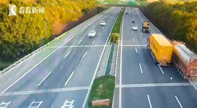 视频 高速上开斗气车 集卡车把槽罐车逼进应急车道!
