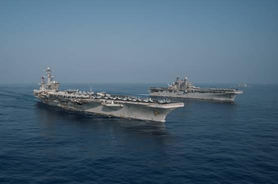 """意欲何为?美军出动""""双航母""""编队在南海炫耀武力"""
