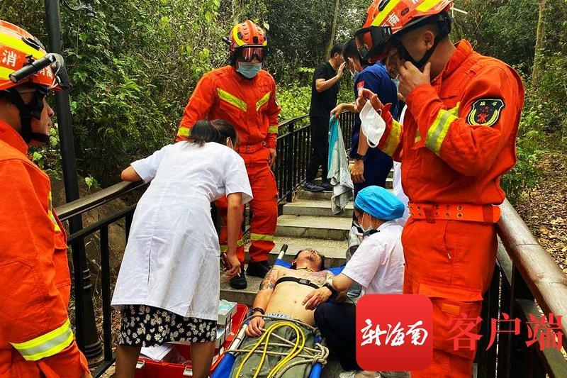 一男子爬山被排蜂蜇伤昏迷 三亚消防紧急处置