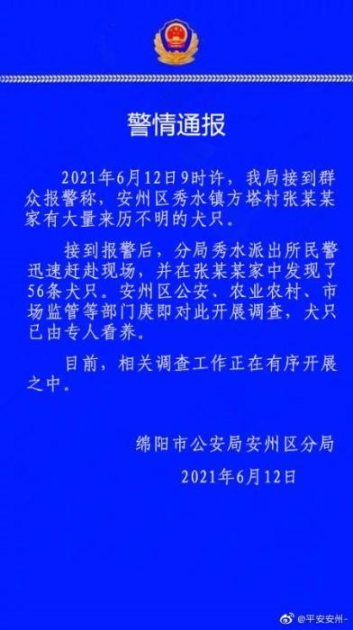 四川绵阳一村民家中发现56条来历不明犬只 正开展调查