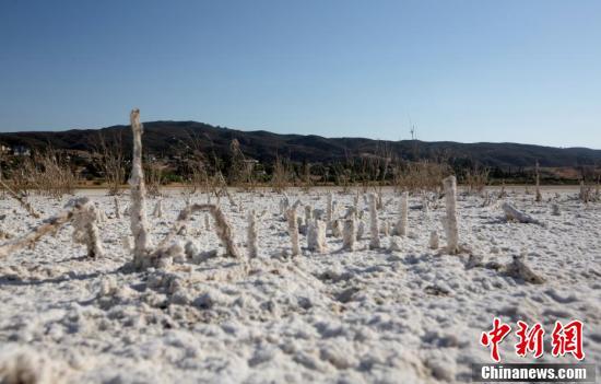 美国加州遭遇极端干旱和高温 伊丽莎白湖干涸触目惊心