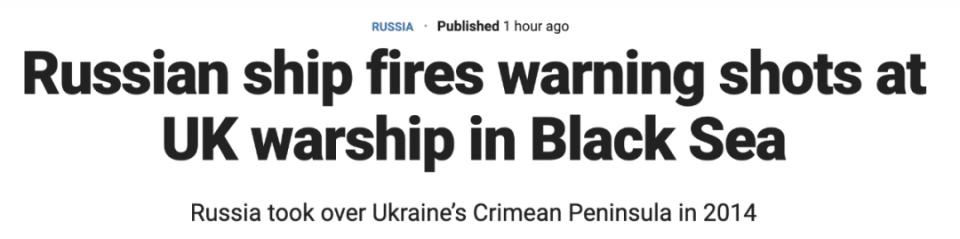 突发:俄罗斯向英舰开火