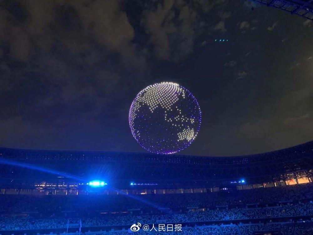 开幕式现场,1824架无人机空中拼出地球