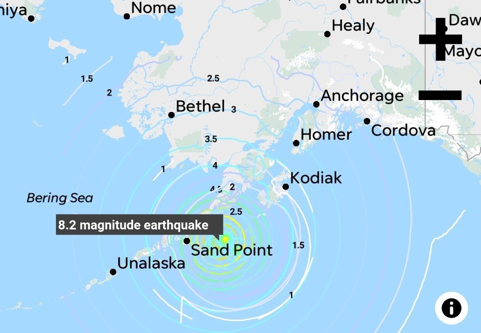 美国阿拉斯加州发生8.2级地震,57年前该州曾发生9.2