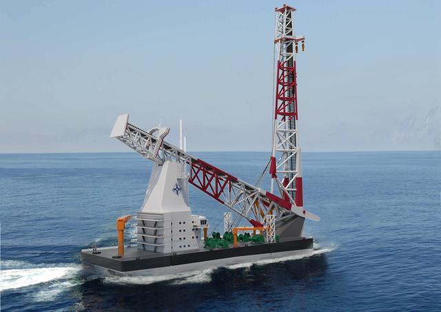 全球最强,140米级海上风电打桩船下水