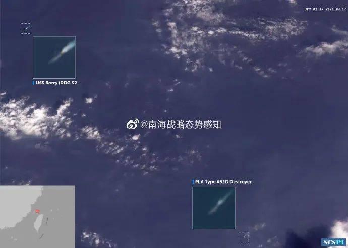 """来图了!""""中国海军驱逐舰横在美舰和台湾岛之间"""""""