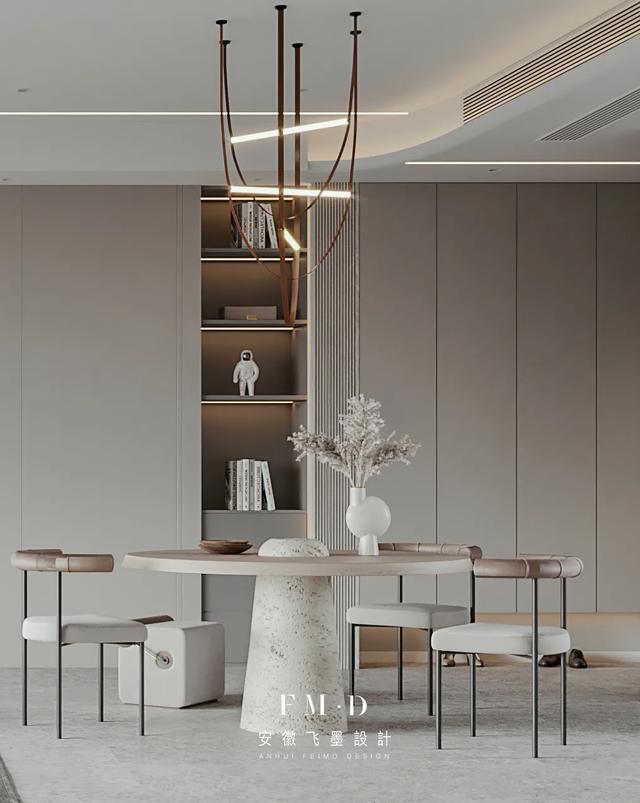 这是三世同堂的教科书设计,168㎡大横厅+书房,奶油色系太耐看了
