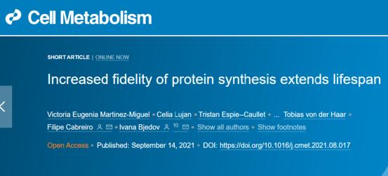 """衰老的""""元凶""""找到了!Cell子刊:增加蛋白质合成的保真性可延长寿命"""