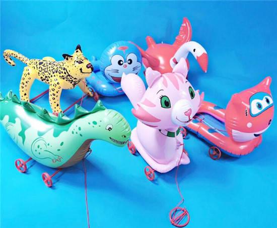 """""""动物充气拉车玩具卡通动物造型新奇特玩具"""