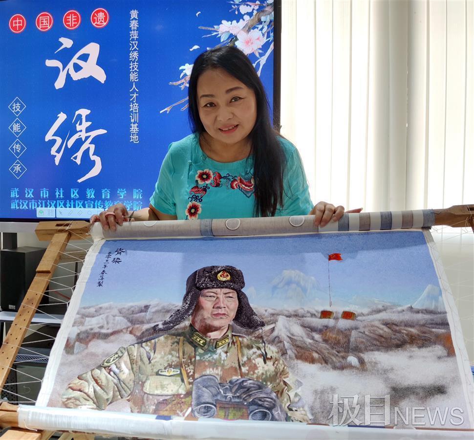 汉绣大师黄春萍创作《脊梁》,献礼国庆佳节