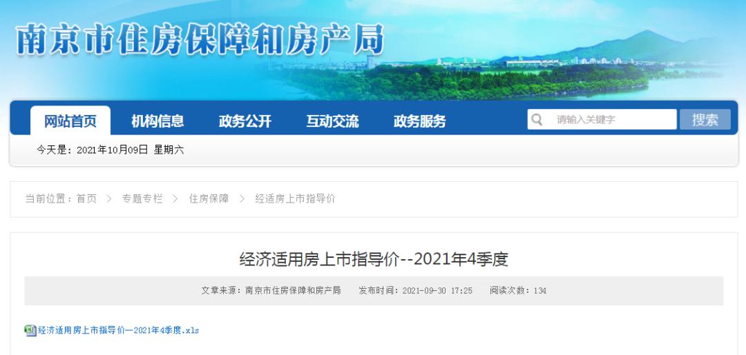 南京公布85个经济适用房小区第四季度上市指导价