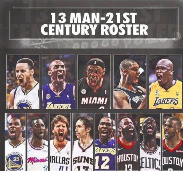 21世纪NBA最伟大的五位球员,刚好落在了五个方位组成一队!