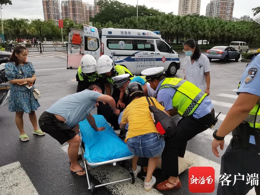 三亚交警开辟绿色生命通道 五、六分钟将伤者送至医院救治
